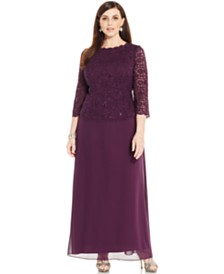 Alex Evenings Plus Size Sequined Lace Gown