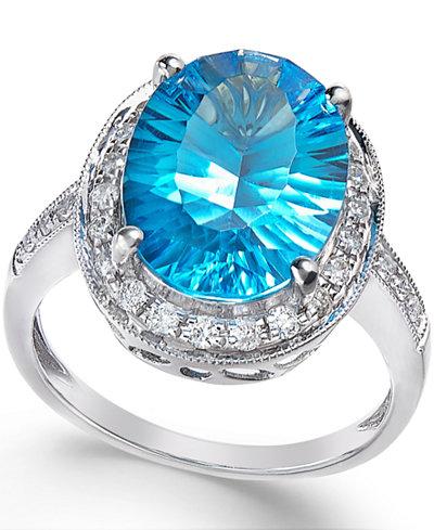 Blue Topaz (6 ct. t.w.) and Diamond (1/3 ct. t.w.) Ring in 14k White Gold