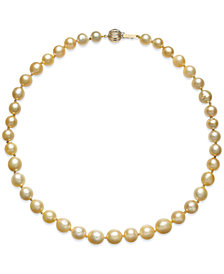 Golden South Sea Cultured Pearl Necklace (8-10mm) in 14k Gold