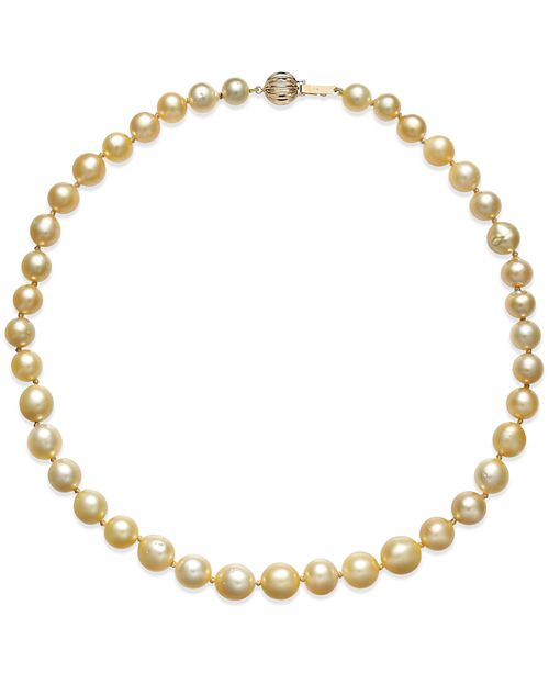 Macy's Golden South Sea Cultured Pearl Necklace (8-10mm) in 14k Gold