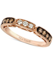 Le Vian Chocolate and White Diamond Band in 14k Rose Gold (3/8 ct. t.w.)