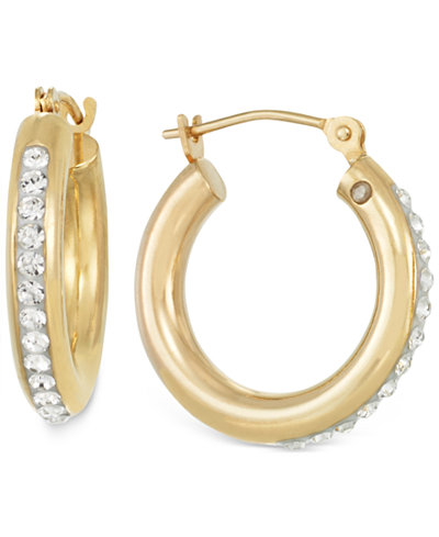 Sigature Gold™ Crystal Hoop Earrings in 14k Gold over Resin