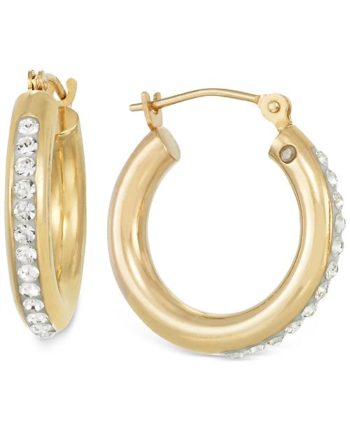 Signature Gold Sigature Gold™ Crystal Hoop Earrings in 14k Gold over Resin