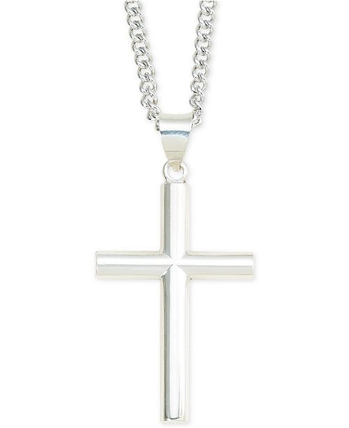 Macy's Cross Pendant Necklace in Sterling Silver