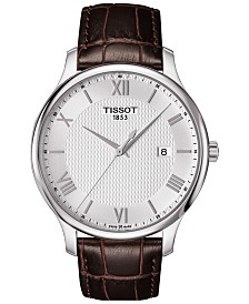 Tissot Men's Swiss Tradition Brown Leather Strap Watch 42mm T0636101603800