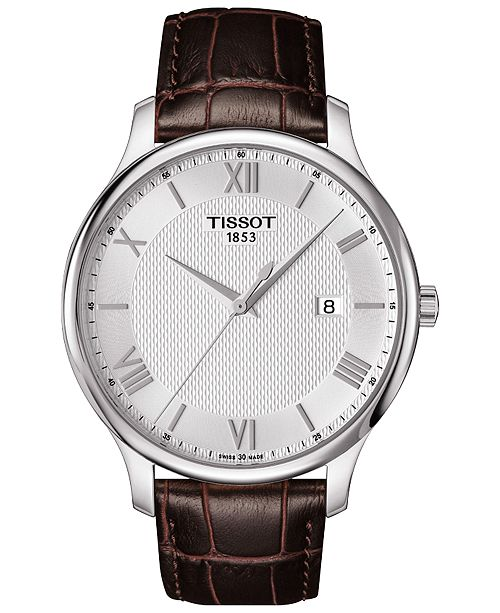 8a7aed621a8 ... Tissot Men s Swiss Tradition Brown Leather Strap Watch 42mm  T0636101603800 ...