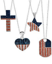 Red, White and Blue Diamond American Flag Pendant Necklaces in Sterling Silver