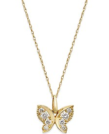 Cubic Zirconia Butterfly Pendant Necklace in 10k Gold