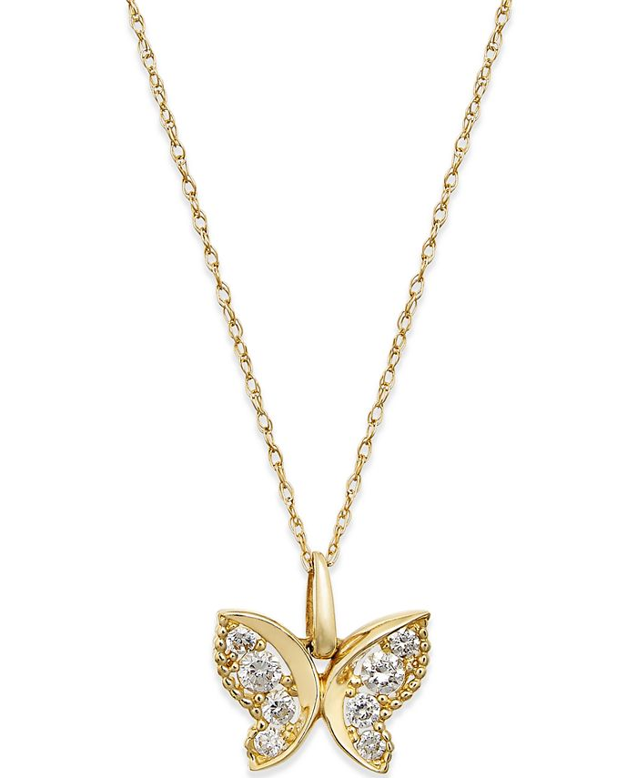 Macy's - Cubic Zirconia Butterfly Pendant Necklace in 10k Gold