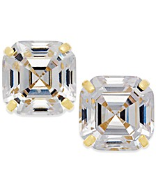 Cubic Zirconia Asscher Cut Stud Earrings in 10k Gold