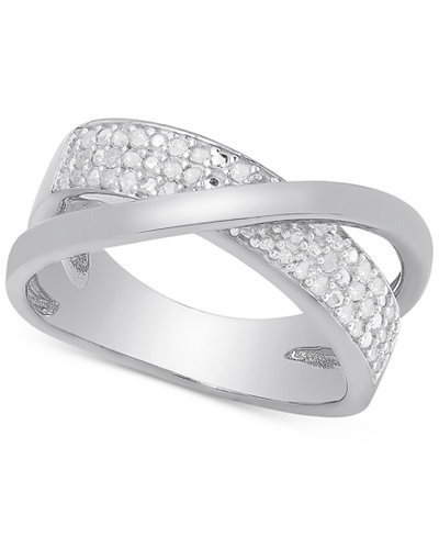 Victoria Townsend Diamond Crossover Ring In Sterling
