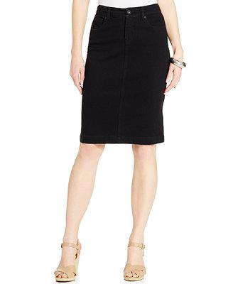 style co knit denim skirt black rinse wash skirts