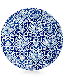 "Q squared Talavera Azul Collection Melamine 5.5"" Appetizer Plate, Set of 4"