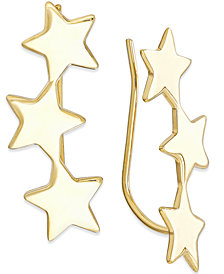 Star Crawler Earrings in 14k Gold, 1 1/4 inch