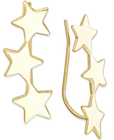 Star Crawler Earrings in 14k Gold