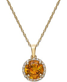 Citrine (1-1/10 ct. t.w.) and Diamond Accent Pendant Necklace in 14k Gold