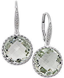 Green Amethyst (11 ct. t.w.) and Diamond Accent Drop Earrings in 14k White Gold