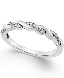Diamond Twisted Band (1/8 ct. t.w.) in 14K Yellow, White or Rose Gold