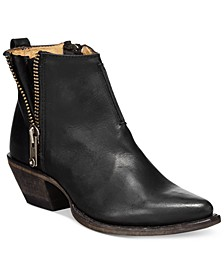 Sacha  Side Zip Moto Leather Booties