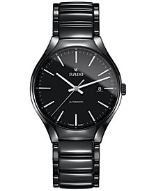 Rado Men's Swiss Automatic True Black High-Tech Ceramic Bracelet Watch 40mm R27056152