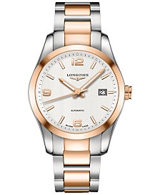 Longines Men's Swiss Automatic Conquest Classic 18k Pink Gold-Plated and Stainless Steel Bracelet Watch 40mm L27855767