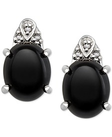 Onyx (8x10mm) and Diamond Accent Earrings in Sterling Silver