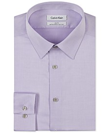 Men's Slim-Fit Non-Iron Performance Herringbone Point Collar Dress Shirt