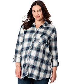 Wendy Bellissimo Maternity Plus Size Lace-Inset Plaid Shirt