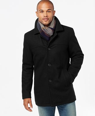 Tommy Hilfiger Men's Big & Tall Melton Peacoat with Scarf - Coats