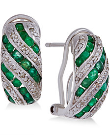 Precious Gemstone (1 ct. t.w.) and Diamond Accent Omega Earrings in Sterling Silver (in Emerald or Ruby)