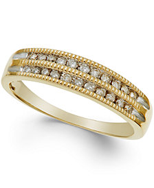 Diamond Two-Row Milgrain Band (1/5 ct. t.w.) in 10K Rose, White, or Yellow Gold