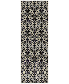 "Couristan Area Rug, Taylor Collection Retro Damask Grey-Black 2' 7"" x 7' 10"" Runner"