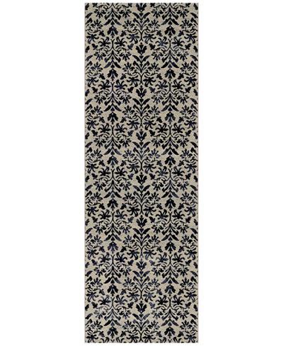 Couristan Area Rug, Taylor Collection Retro Damask Grey-Black 2' 7