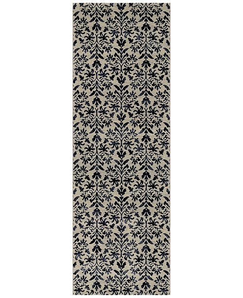 "Couristan Taylor Retro Damask Grey-Black 2'7"" x 7'10"" Runner Rug"