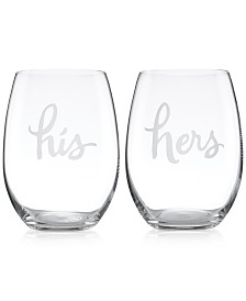kate spade new york Two of a Kind His & Hers Stemless Wine Glasses, Set of 2
