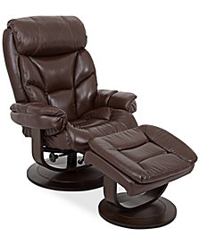 CLOSEOUT! Aby Leather Recliner Chair & Ottoman