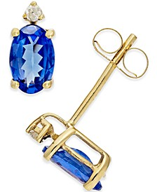 Tanzanite (3/4 ct. t.w.) and Diamond Accent Stud Earrings in 14k Gold