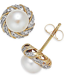 Honora Style Cultured Freshwater Pearl (6mm) & Diamond Accent Earrings in 14k Gold
