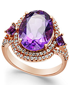 Amethyst (5-3/4 ct. t.w.) and Diamond (3/8 ct. t.w.) Ring in 14k Rose Gold