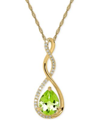 "Image of Birthstone and Diamond (1/10 ct. t.w.) 18"" Pendant Necklace in 14k White or Yellow Gold"