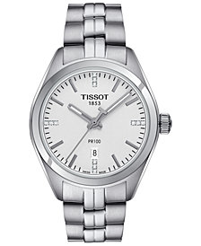 Tissot Women's Swiss PR100 Diamond Accent Stainless Steel Bracelet Watch 33mm T1012101103600