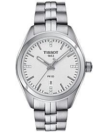 Tissot Women's Swiss PR100 Diamond Accent Stainless Steel Bracelet Watch 33mm T1012101103600