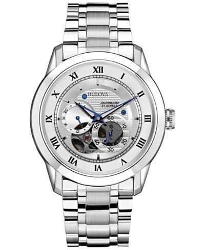 bulova men s automatic bva series stainless steel bracelet watch bulova men s automatic bva series stainless steel bracelet watch 42mm 96a118