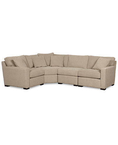 Radley fabric 4 piece sectional sofa created for macy39s for Macy s orange sectional sofa