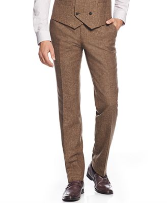 Bar III Brown Tweed Slim-Fit Pants, Only at Macy's - Pants - Men ...