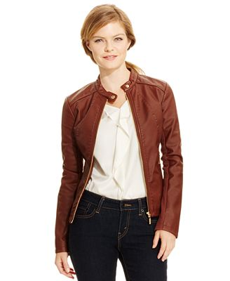 Ivanka Trump Faux-Leather Moto Jacket - Jackets - Women - Macy's