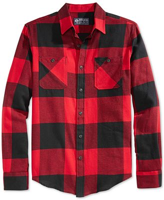 American Rag Men's Buffalo Plaid Flannel Shirt, Created for Macy's ...