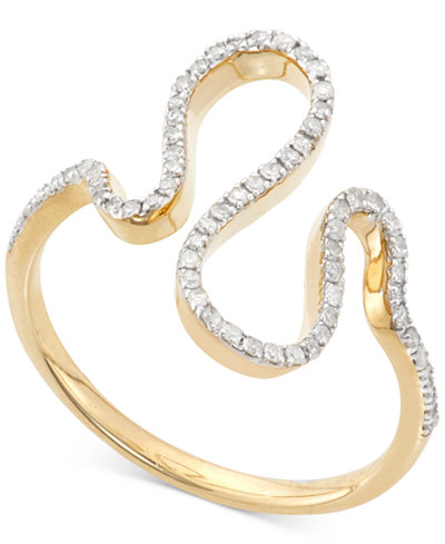 Wrapped in Love™ Diamond Squiggle Ring (1/5 ct. t.w.) in 10K Gold, Created for Macy's