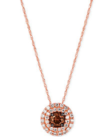 Le Vian Chocolatier® Chocolate and White Diamond Circular Pendant Necklace (1/2 ct. t.w.) in 14k Rose Gold