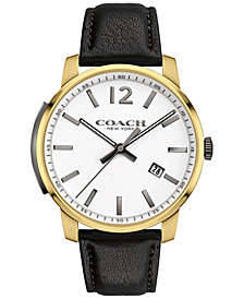 COACH MEN'S BLEECKER BLACK LEATHER STRAP WATCH 42MM 14602055, MACY'S EXCLUSIVE